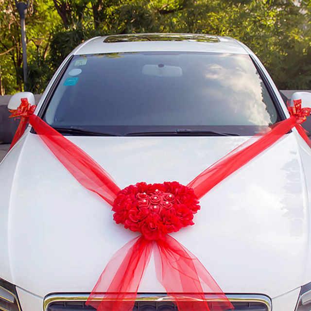 Wedding Car Decorations Kit Set Artificial Silk Flower Ribbon Bows