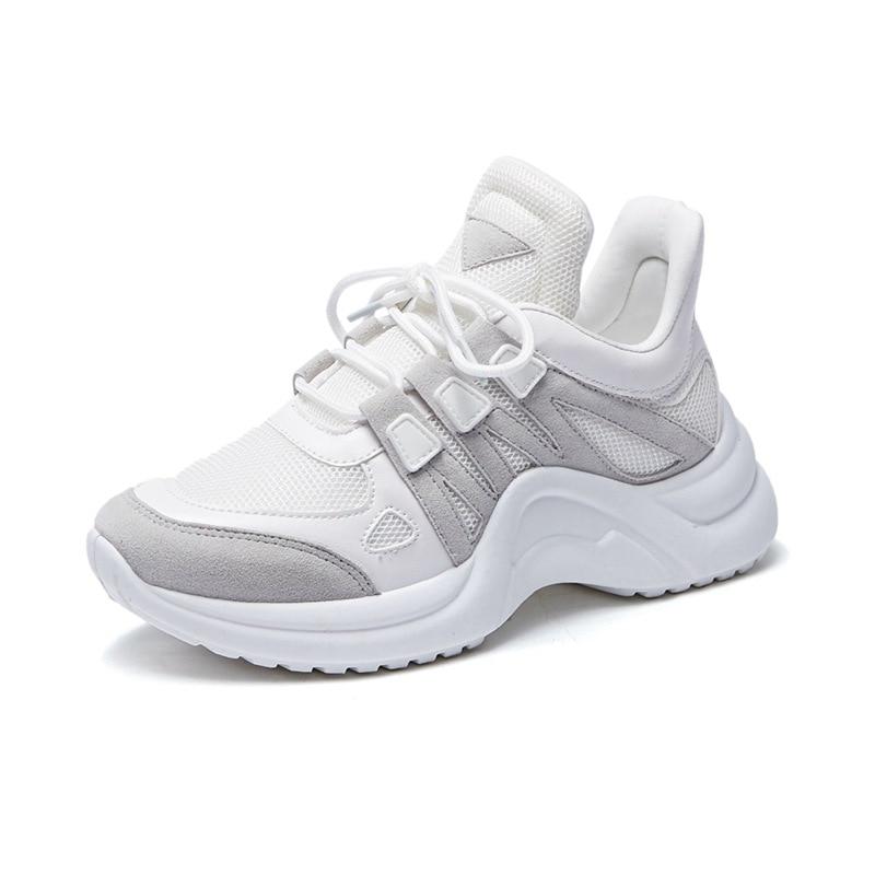 2019 New Summer Women Running Shoes Cushioning Breathable Mesh Height Increasing INS Harajuku Sneakers Outdoor Walking Shoes in Running Shoes from Sports Entertainment