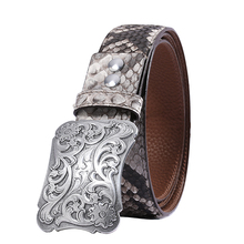 588 genuine boa leather 3D carved sterling silver buckle durable stylish handmade belt