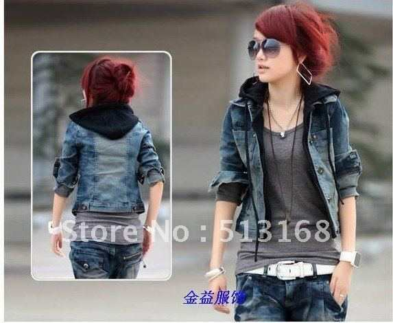 b3d1170c9 2012 Free shipping fryer spring Winter Women's Hoodie Jeans Jacket coat  outerwear denim jacket cowboy wear S M L