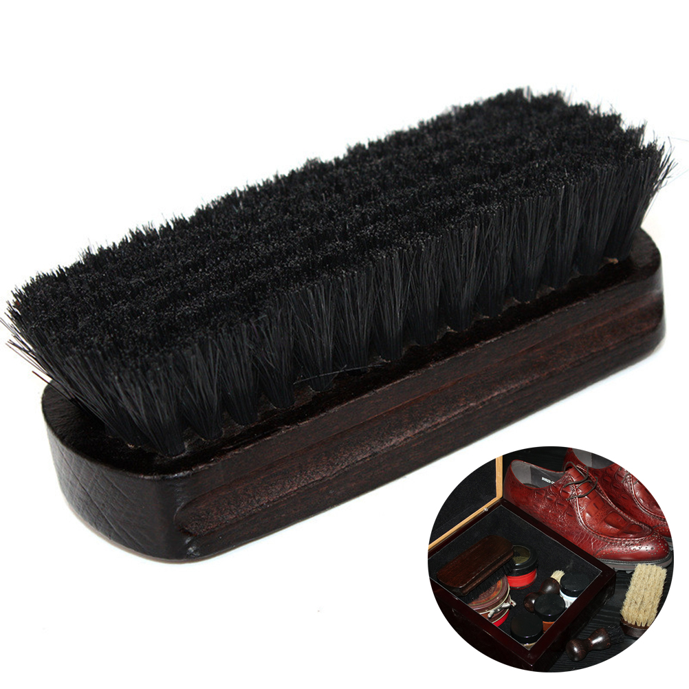 boot brush cleaner shine shoe pig bristles brush with wood