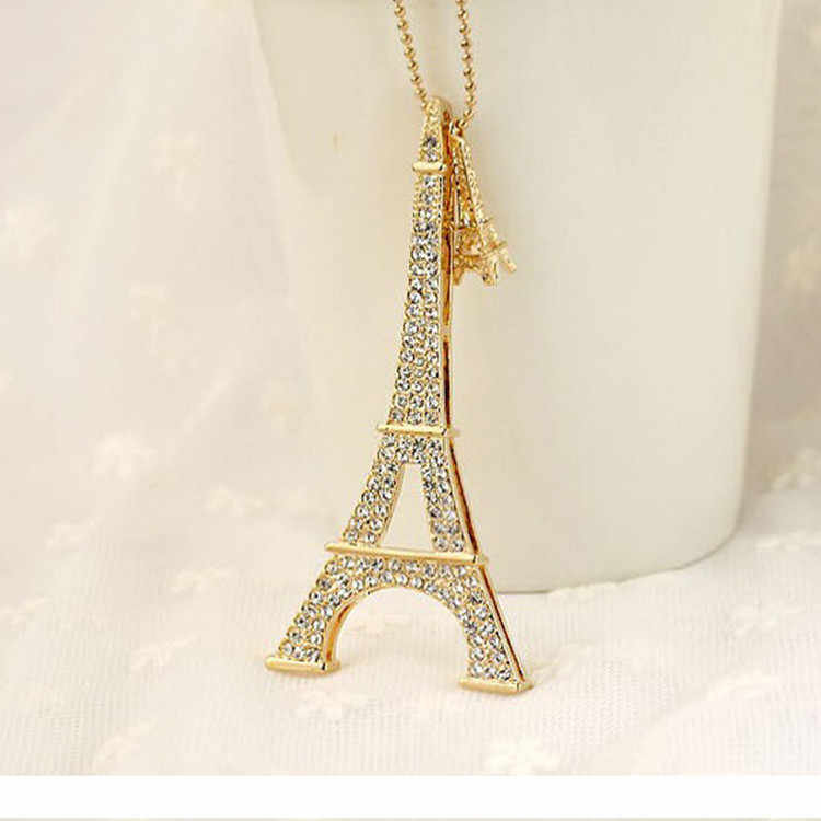 Merek Fashion Paris Menara Eiffel Kalung Kristal Berlian Imitasi Bola Pendant Panjang Rantai Sweater Kalung Wanita Perhiasan Hadiah