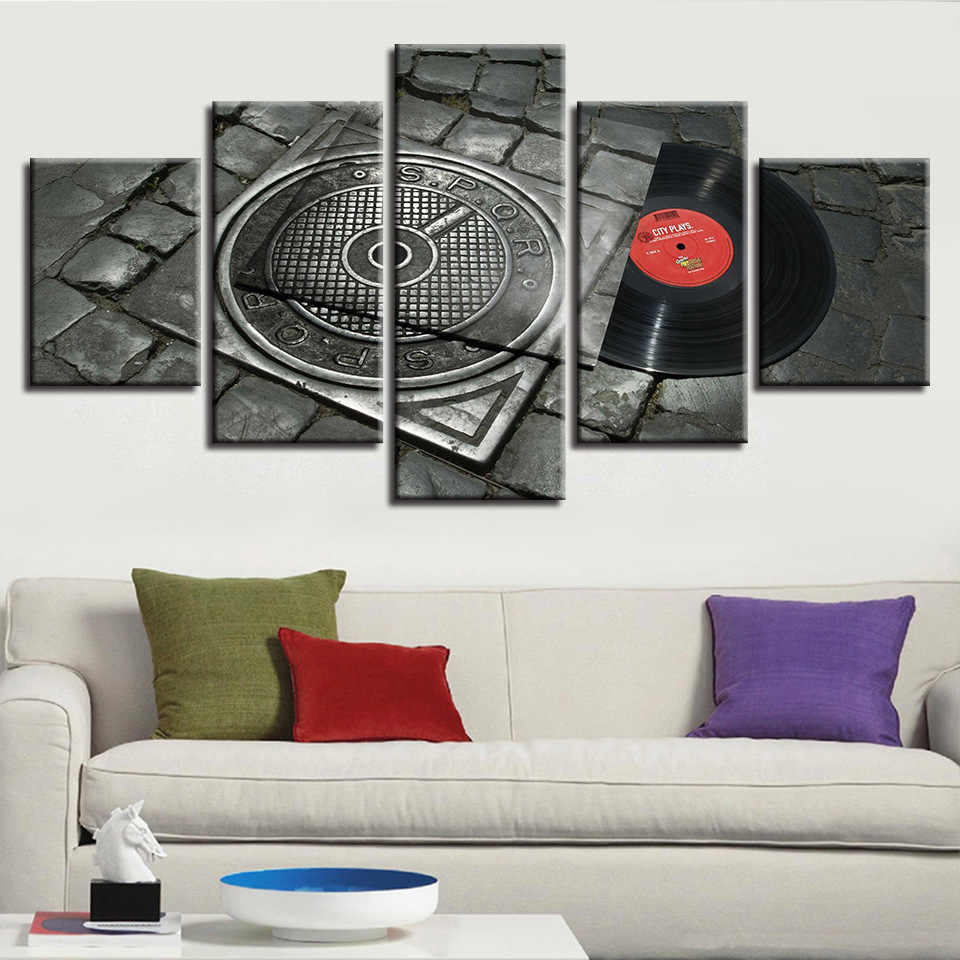 COLOMAC Frame Wall Decor Picture Classic Poster Five Pieces Musical Instrument  High-end Home Posters and Prints Bedroom