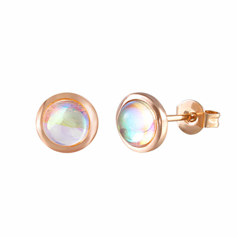 ZEMO Rose Gold Stud Earrings for Women Fire Opal Earrings Trendy Moonstone Stud Earrings Fashion Jewelry pendientes mujer moda
