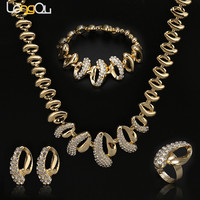2017 Top Quality Fashion Dubai Jewelry Set Gold Color Romantic African Beads Costume Jewelry SetsNigerian Wedding