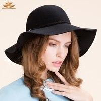 מגבעות לבד נשי הגעה חדשה כל משחק בריטי כובע קוריאני כובע צמר בחורף כובע רחב שוליים מגבעות לבד צמר כובע ב-7518