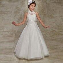 Белое Пышное Платье с цветочным узором для девочек платья для первого причастия для девочек, Аппликация из бисера, Детские вечерние платья для причастия