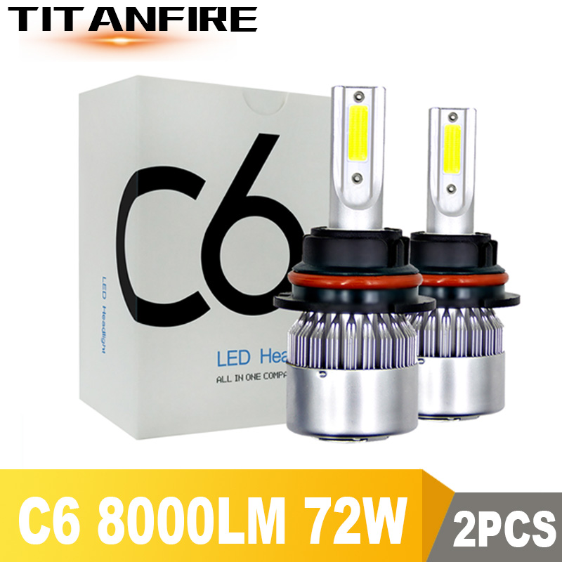 2Pcs/lot  C6 LED Headlights Bulbs Conversion Kit Lights 72W 8000LM HB3 HB4 9004 9005 H1 H3 H4 H7 Auto COB Car 6000K