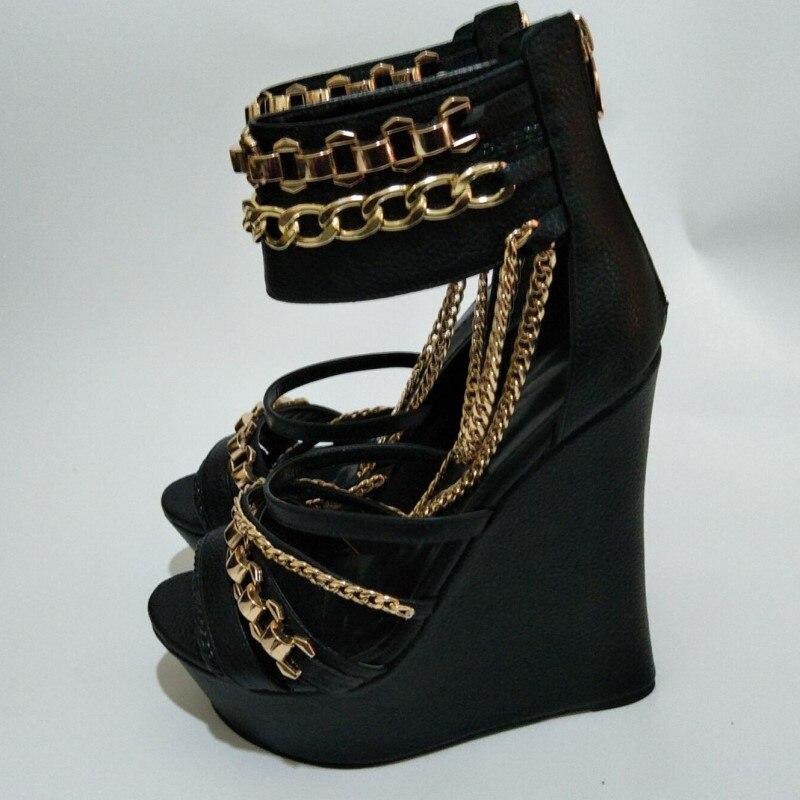 Negro Stiletto Gratuito Cuña Correo Arena Mujer Sandalias 2018 Nuevo De Cuero Cadena Negro Decoración Y Elegante Zapatos Shofoo Shoes WZY1ORwqx8