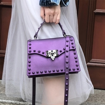 New Fashion Jelly Bag Retro Rivets Women Jelly PVC Handbags Simple Casual Portable Shoulder Package Ladies Square Crossbody Bags