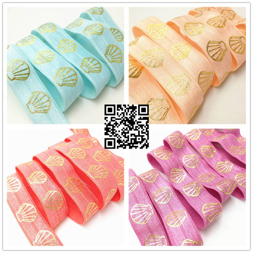 10yards/lot  Shell Foil Printed FOE Good Quality 5/8 Fold Over Elastic Ribbon For DIY Headwear Hair Accessories
