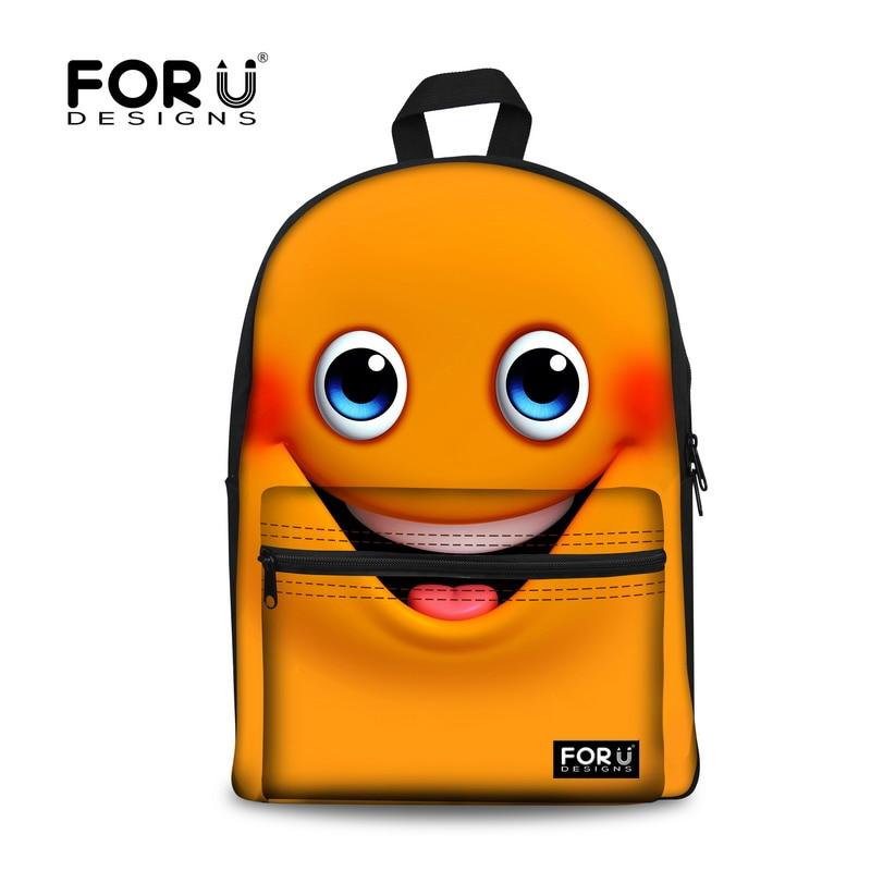 Cute Cartoon Emoji Schoolbag Canvas Smile Face Printing Backpack Women School Bags for Teenagers Girls Rucksack Kids Book Bags