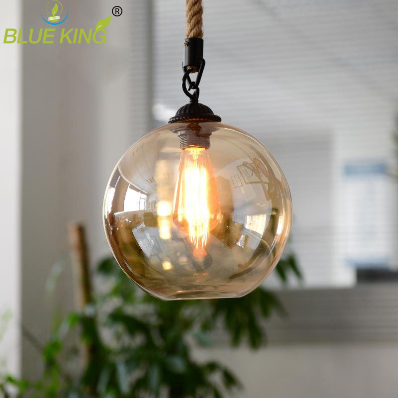 vintage glass pendant lamp amber glass  for Kitchen Dining room Fixtures industrial hemp rope retro glass hanging lights