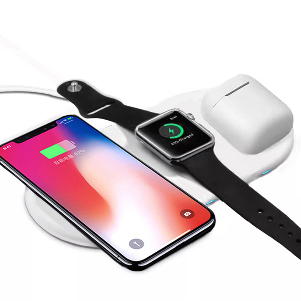 Wireless Fast Charging Pad for iphone airpods Apple Watch 2/3/4 3 in 1 Fast Docking Station Ultra Slim Charger for Samsung
