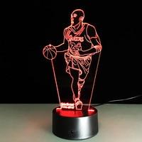 Nieuwste Novelty 3D Visuele Acryl Licht NBA Kobe Bryant LED Nachtlampje USB Slaapkamer Tafellamp Kleurrijke Gradiënt Sfeer Lamp