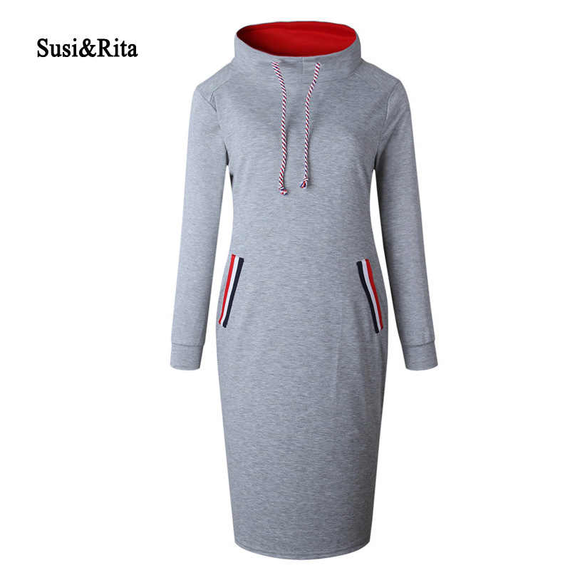 f319efe5a26 Susi Rita Plus Size Autumn Hoodie Dress Women 2018 Long Sleeve Bodycon Sweatshirt  Dress Casual Ladies Winter