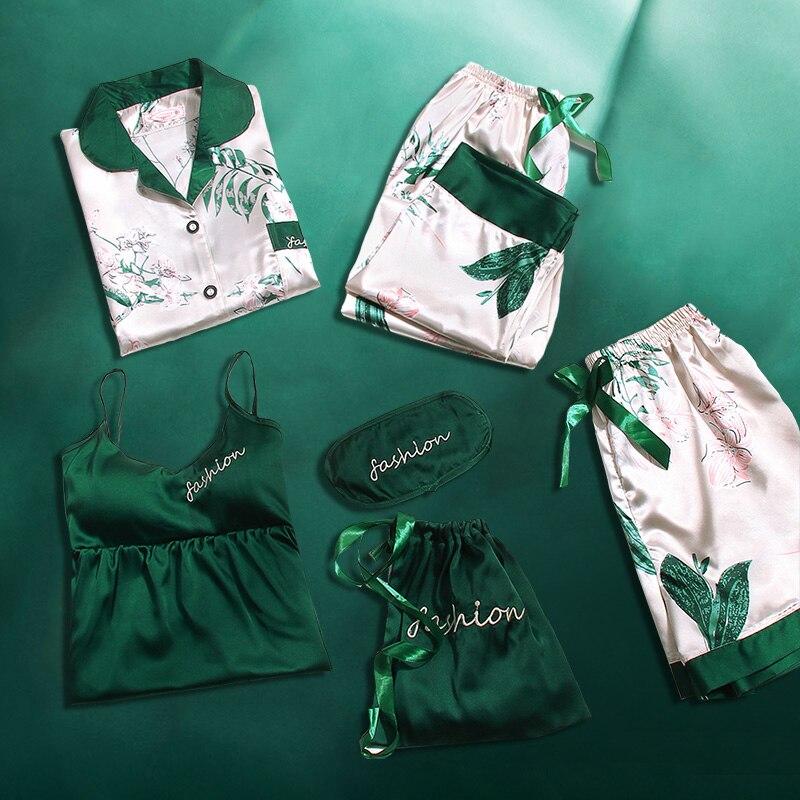 Ladies   Pajamas   7 Pieces   Sets   2019 Pyjama for Women Sleep Clothes Nightwear Girl's Negligee Sleepwear Suit Satin Home   Pajama     Sets