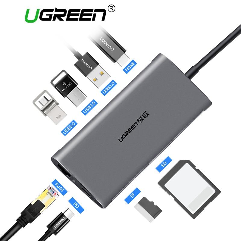 Ugreen USB HUB USB C to HDMI RJ45 PD Thunderbolt 3 Adapter for MacBook Samsung Galaxy S9/S8 Huawei P20 Pro Type-C USB 3.0 HUB
