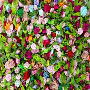 Image 5 - 100 pcs 의류 액세서리에 대 한 수 제 미니 새틴 꽃 인공 리본 장미 꽃 diy 웨딩 스크랩북 카드 장식