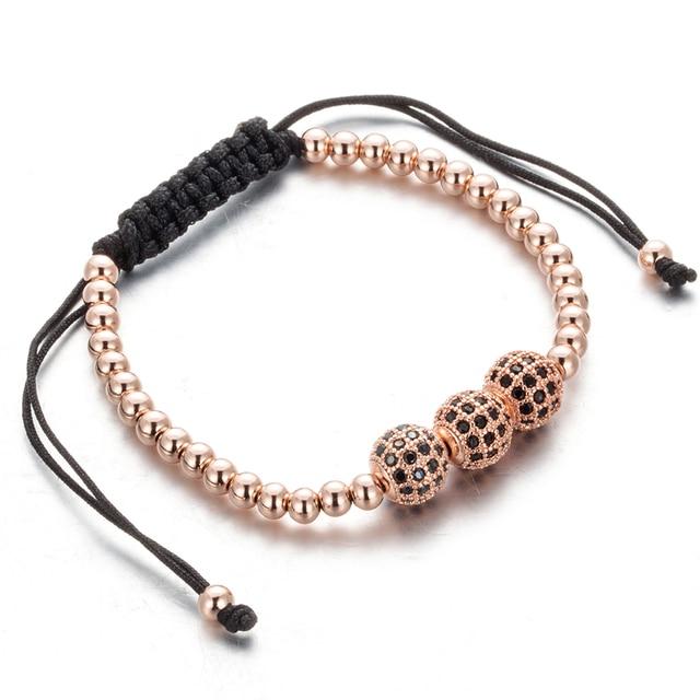 Trendy Brand Rose golden Crystal Shambhala bracelet Charm 3 ball bead bracelets for women Fashion Lace-up bangle B020285-87
