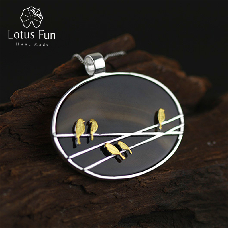 Lotus Fun Real 925 Sterling Silver Natural Agate Handmade Fine Jewelry Lovely Birds Pendant without Necklace Acessorio for Women 2 3mm red natural agate necklace multi layers 925 sterling silver with real pearl fine womne jewelry wedding party necklace