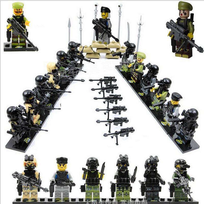 12Sets 51000 Army Assault SWAT Police Team Military Soldier With Weapon Guns Figure Blocks Compatible Legoe Toys For Children military army soldier city police swat