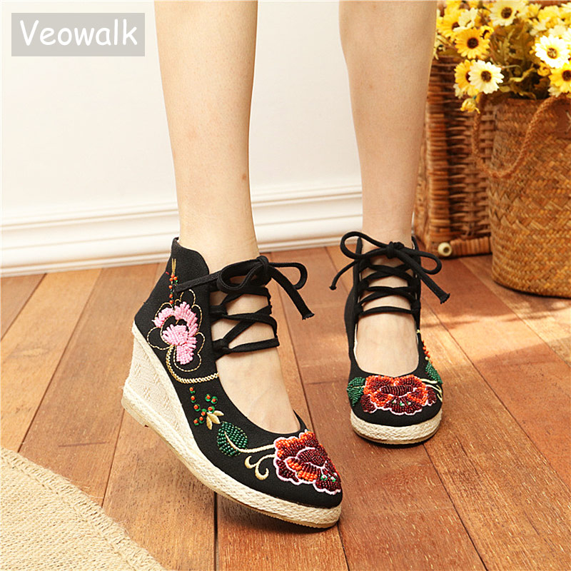 Veowalk Original Women's Canvas Embroidered Wedged Pumps Ankle Strap Retro Ladies Casual Mid Heels Cotton Fabric Platforms Shoes