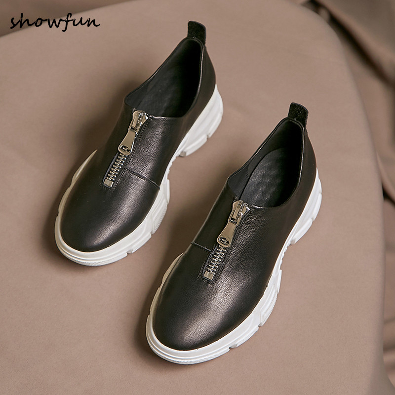 Women s genuine leather thick sole spring new flats sneakers brand designer front zip leisure espadrilles