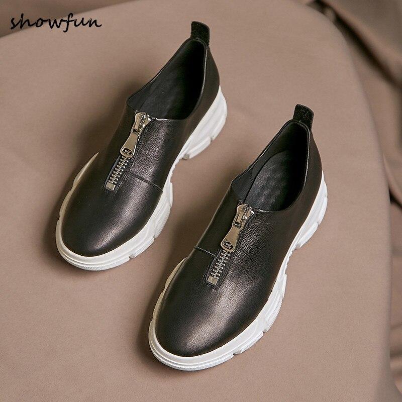 المرأة جلد طبيعي سميكة وحيد ربيع جديد الشقق أحذية رياضية العلامة التجارية مصمم الجبهة البريدي الترفيه رياضة قماشية أحذية فائقة الجودة الساخن-في أحذية نسائية مسطحة من أحذية على  مجموعة 1