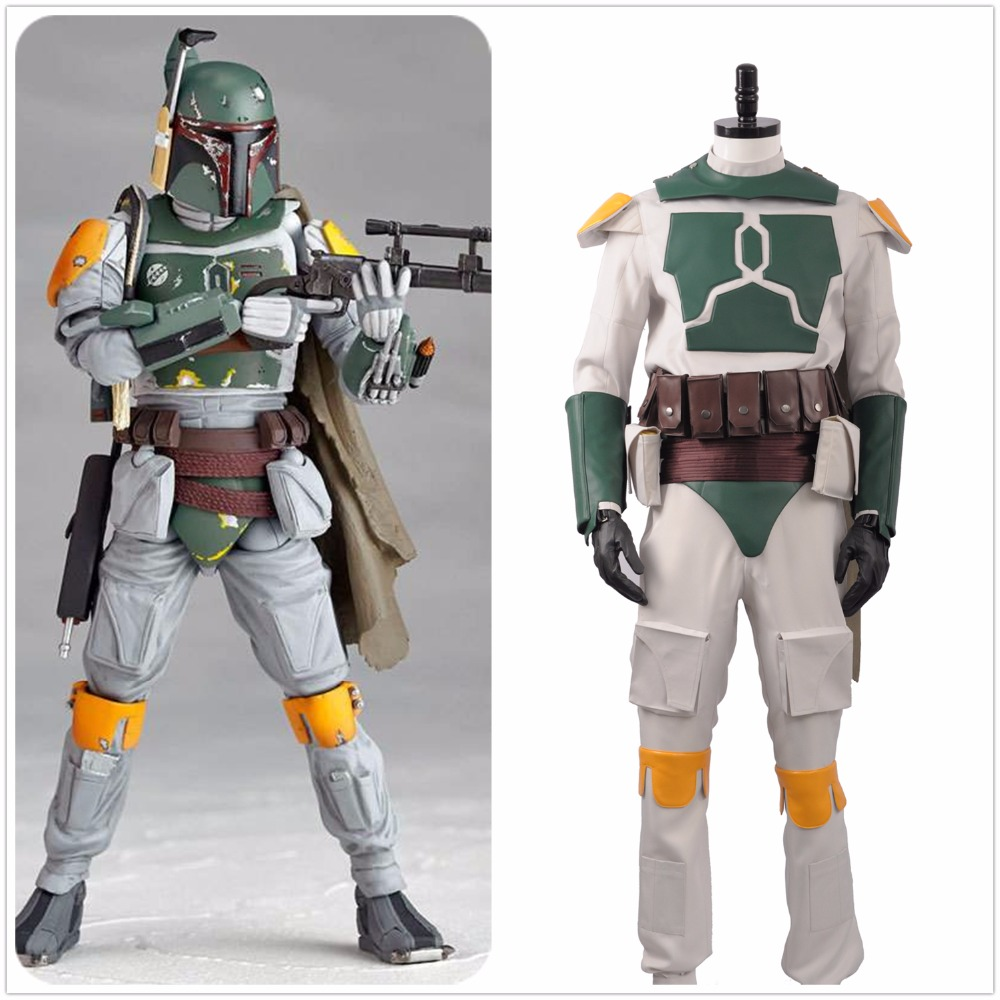 Movie Star Wars Boba Fett Superhero Fighter Suit Full Set Outfit Fancy Halloween Carnival Cosplay Costume For Men Adult