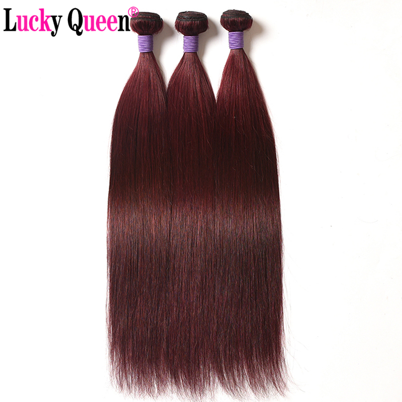 Burgundy Brazilian Straight 3pcs 100 Human Hair Extensions Bold Red 99j Remy Hair Weave Bundles Free