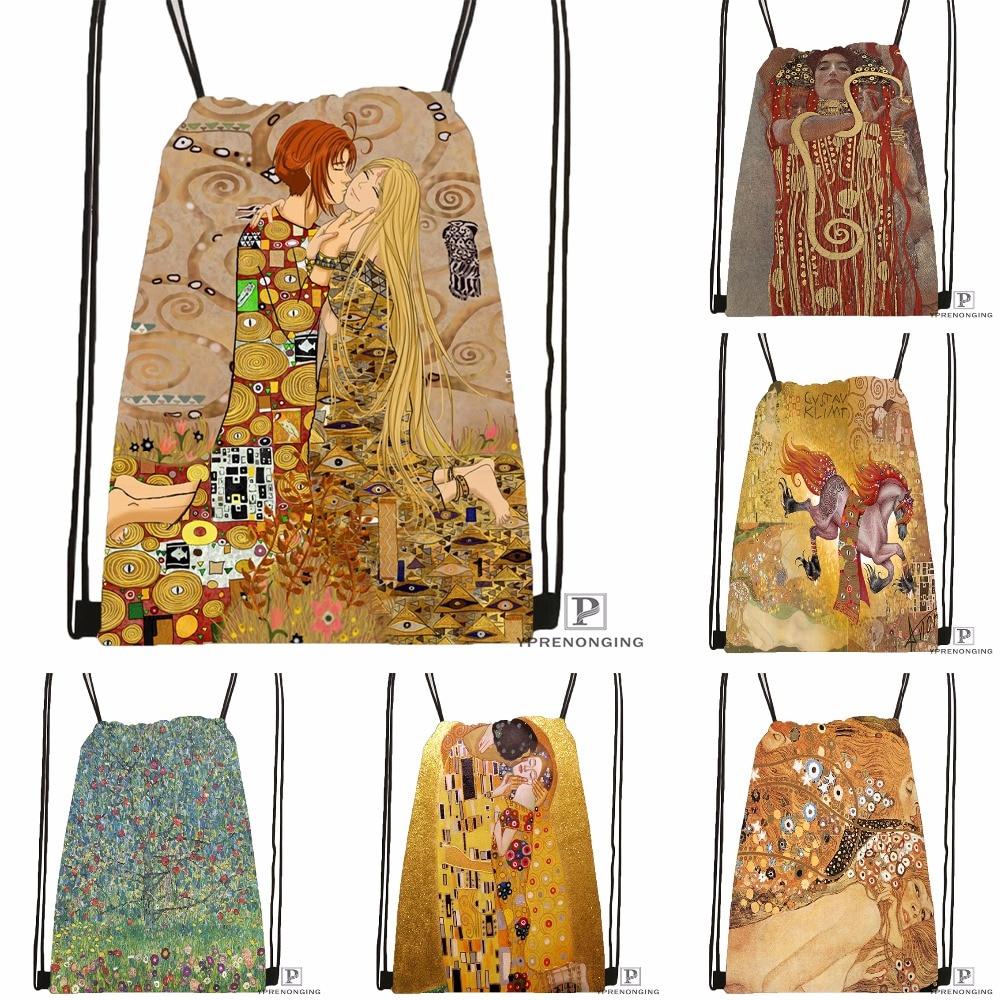 Custom Gustav Klimt Drawstring Backpack Bag Cute Daypack Kids Satchel (Black Back) 31x40cm#180531-03-15