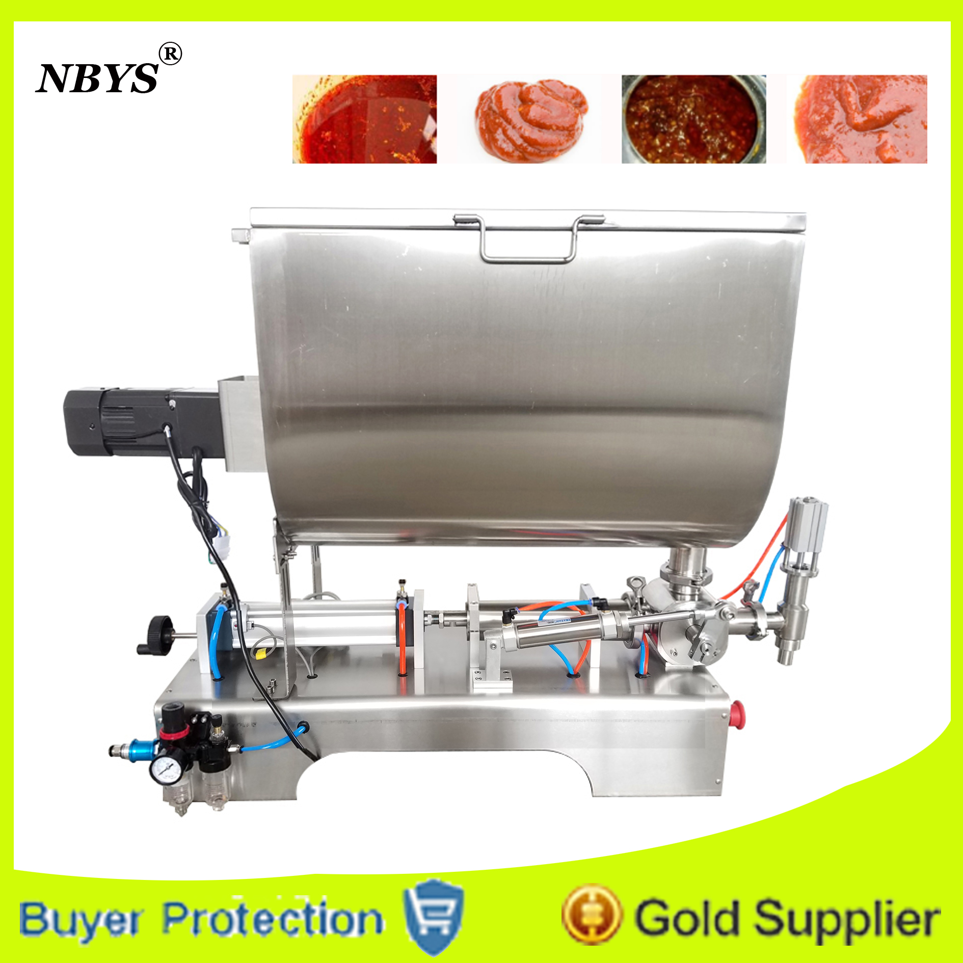 Free Shipping Chilli sauce filling machine mixing hopper filler,  Pneumatic Paste Semi fluid containing particles, sauces,Cream Бутылка