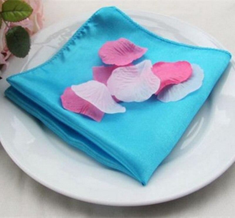 100 stks 45x45 cm Satijn Servetten Bruiloft Diner Servet Doeken Pocket Zakdoeken Voor Home Hotel Party Banquet decoratie-in Tafelservetjes van Huis & Tuin op  Groep 2