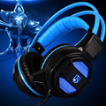 2016 New Gaming Headset Stereo Sound 2.2m Wired PC Gaming Headphone Voice control with Hidden Microphone LED light for Computer
