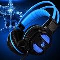 2016 Nueva Gaming Headset 2.2 m Con Conexión de Cable de Auriculares de Juegos de PC de Voz de control de Sonido Estéreo con Micrófono Oculto LLEVÓ la luz de equipo