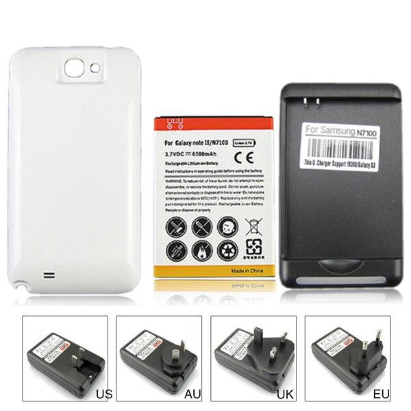 imágenes para Alta capacidad de 6500 mah reemplazo de la batería + cargador de pared para samsung galaxy note 2 ii n7100 gt-n7100 con tapa trasera blanca cubierta