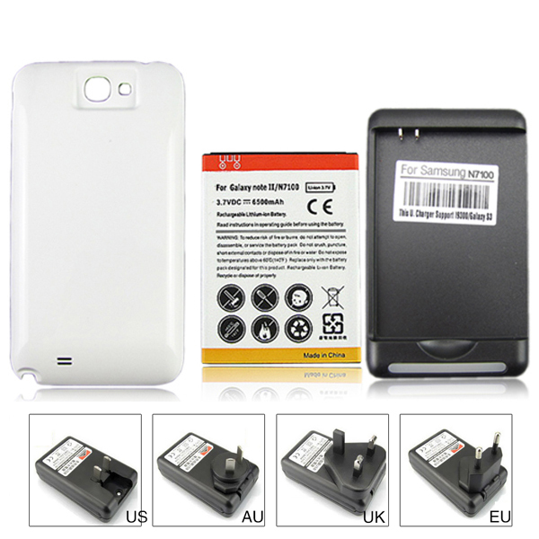 High Capacity 6500mah Replacement Battery + Wall Charger for Samsung Galaxy Note 2 II N7100 GT-N7100 with White Back Case Cover