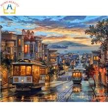 HOME BEAUTY 40x50cm picture paint on canvas diy digital oil painting paint by numbers drawing coloring by number city night Y058(China)