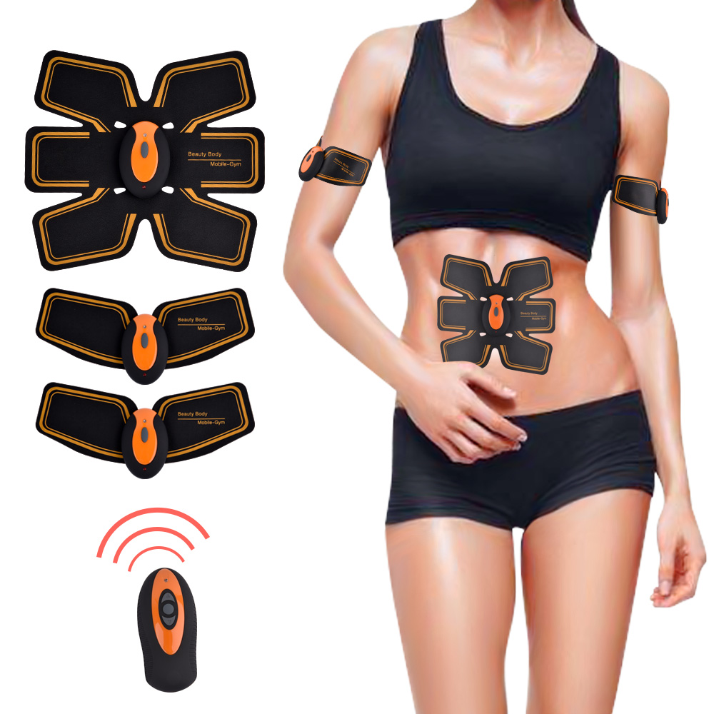 2018 Wireless Remote ABS Stimulator With Toning Belt Rechargeable EMS Abdominal Muscle Trainer Tens Pulse Massager Slimming