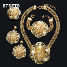 BTSETS  Women Jewelry Sets Gold Color Fashion Statement Necklace Dubai Leaf Fashion Party Wedding African Beads Accessories