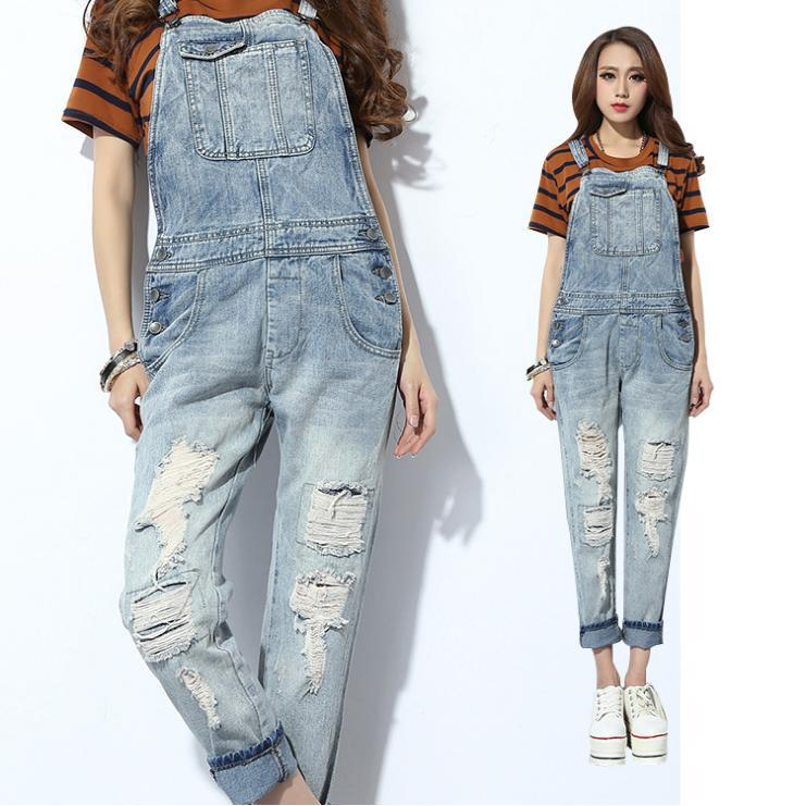 d4aeafa1c02e Macacao Feminino 2014 Winter XXXL Casual Boyfriend Denim Jumpsuit Women  Long Jumpsuit Pants Ladies Ripped Jeans Rompers Overall