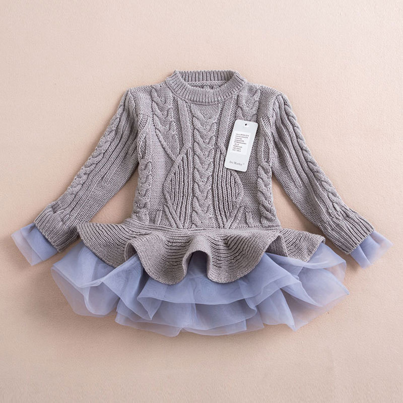 Girls Dress Christmas Wedding Party Dresses Knitted Chiffon Winter Kids Girls Clothes Children Clothing Thick Warm Girl Dresses (6)