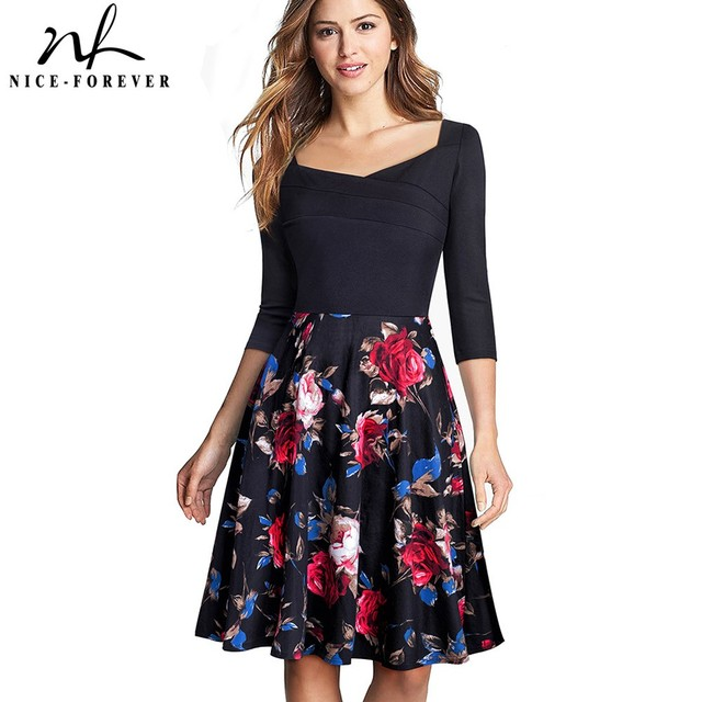 ee4c720ee831c US $17.09 5% OFF|Nice forever Vintage Print Flower Patchwork Ruffle  vestidos Retro Square Collar A Line Pinup Business Women Flare Dress  A075-in ...