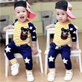 2017 primavera outono do bebê da menina do menino roupas Top de manga Longa + calças 2 pcs terno esporte roupa do bebê set bebê recém-nascido roupas