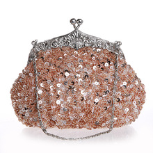 Hot Sale Women Bridal Wedding Party Bags Exquisite Beads Sequins Cosmetic  Bags Socialite Birthday Gif Elegant 07afb3fcd356