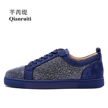 Qianruiti 2018 Men Suede Rhinestone Flat Low Top Sneakers Crystal Lace-up  Men Runway Chaussures 105564d78c1f
