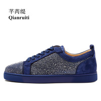 Qianruiti 2018 Men Suede Rhinestone Flat Low Top Sneakers Crystal Lace up Men Runway Chaussures Hommes