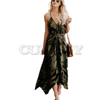CUERLY 2019 New Summer Fashion Women Sexy Strap Backless Dress Casual Camouflage Military V Neck Print Midi Long Dresses