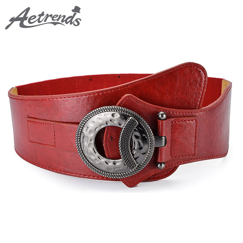 [AETRENDS] Diagonal Cross Cinch Belt Women Vintage PU Leather Waistband Wide Belts Dress Clothes Accessories Cummerbunds D-0080